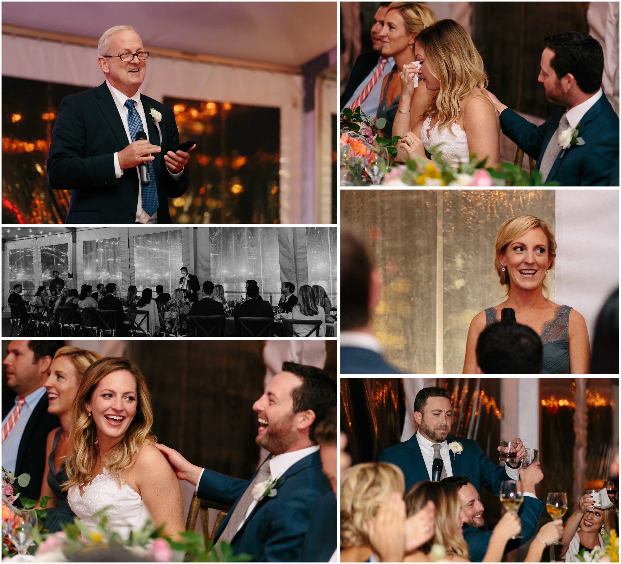 Nautical Massachusetts Jewish Wedding in the Boston Navy Yard reception toasts and speeches