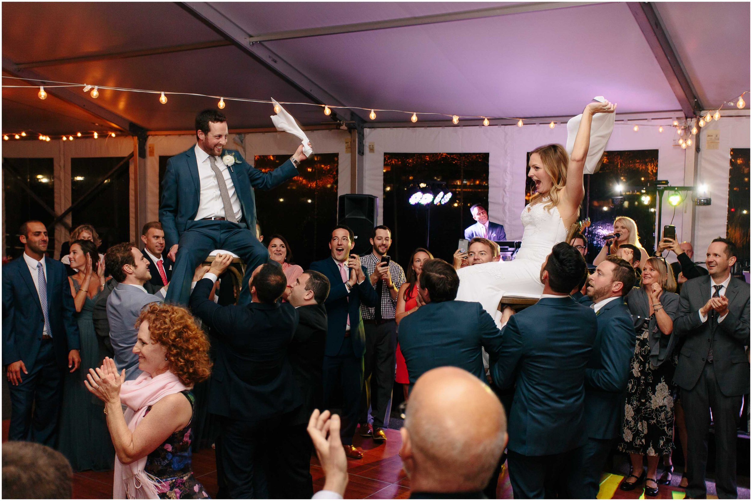 Nautical Massachusetts Jewish Wedding in the Boston Navy Yard reception Horah Dance