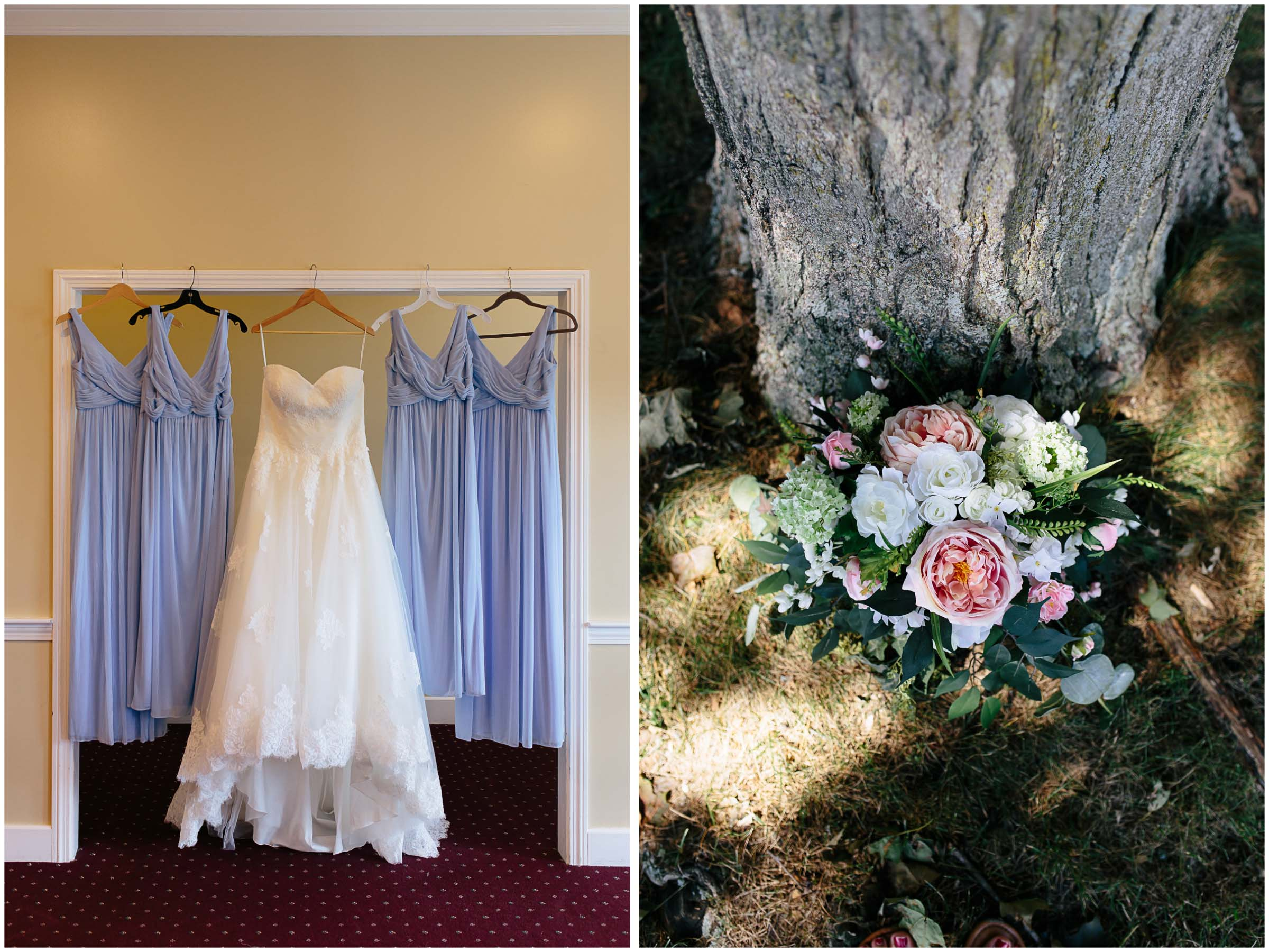 Cozy Country Church Wedding in Pepperell, Massachusetts flowers bouquet and dresses