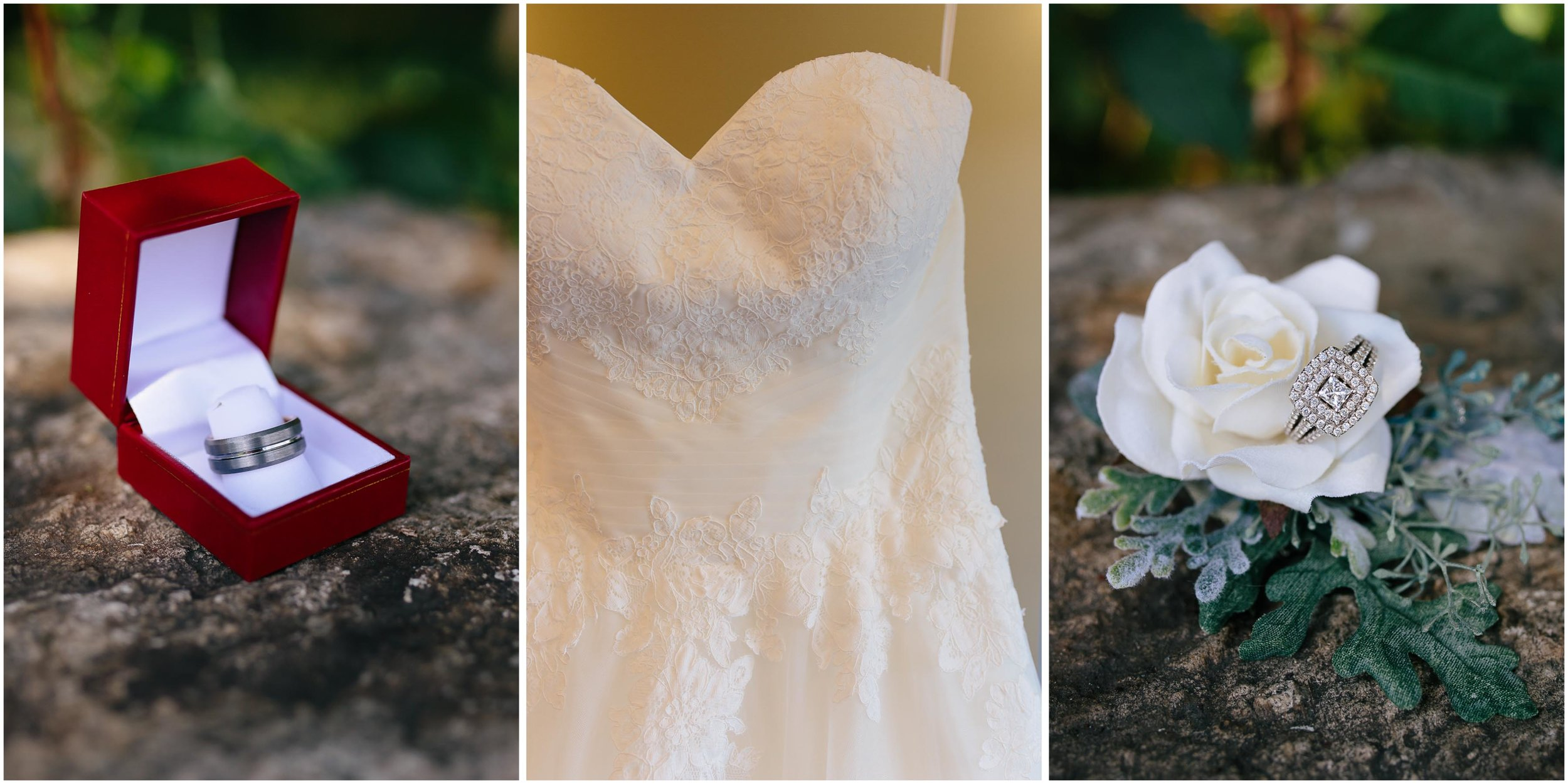 Cozy Country Church Wedding in Pepperell, Massachusetts rings and dress