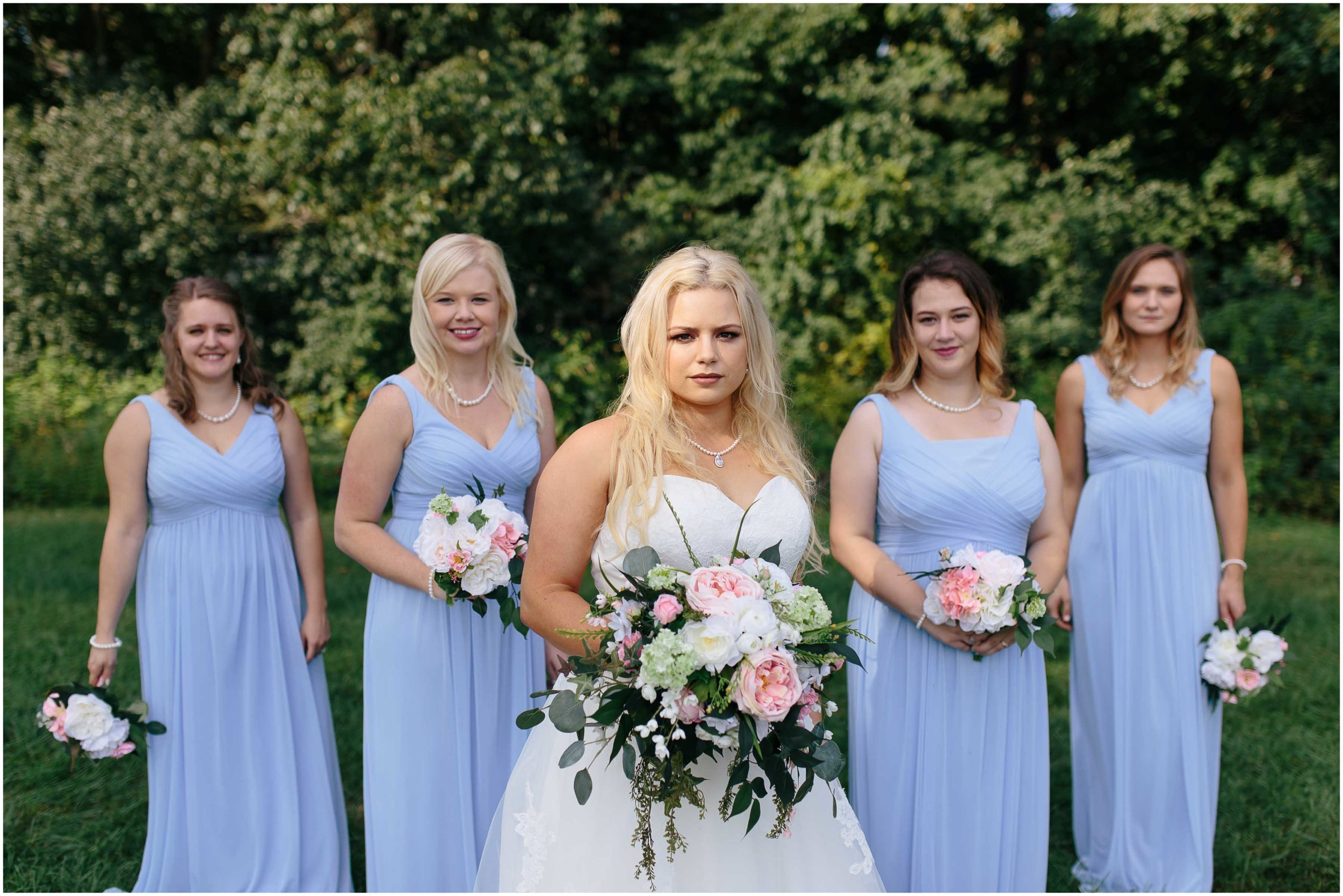 Cozy Country Church Wedding in Pepperell, Massachusetts bride and bridesmaids