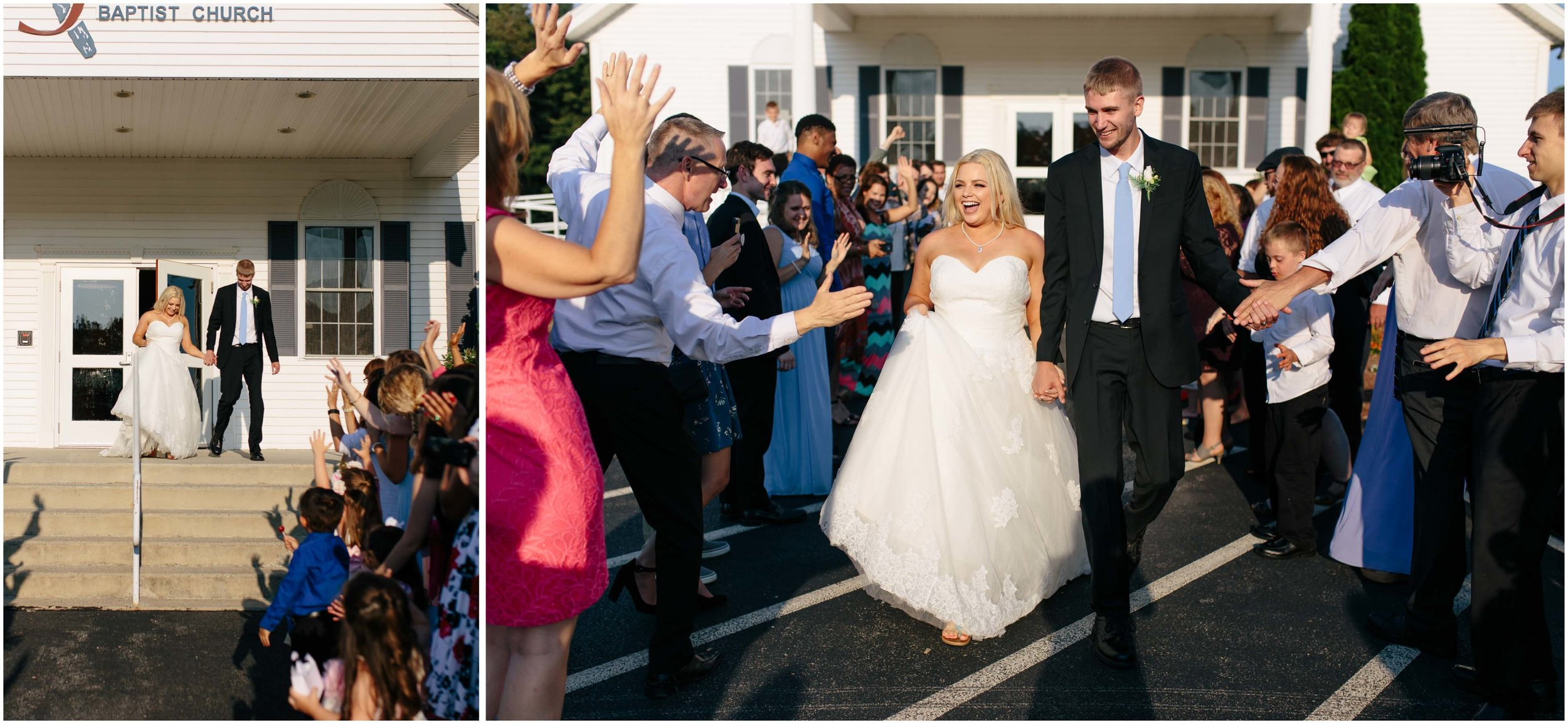 Cozy Country Church Wedding in Pepperell, Massachusetts bride and groom exit