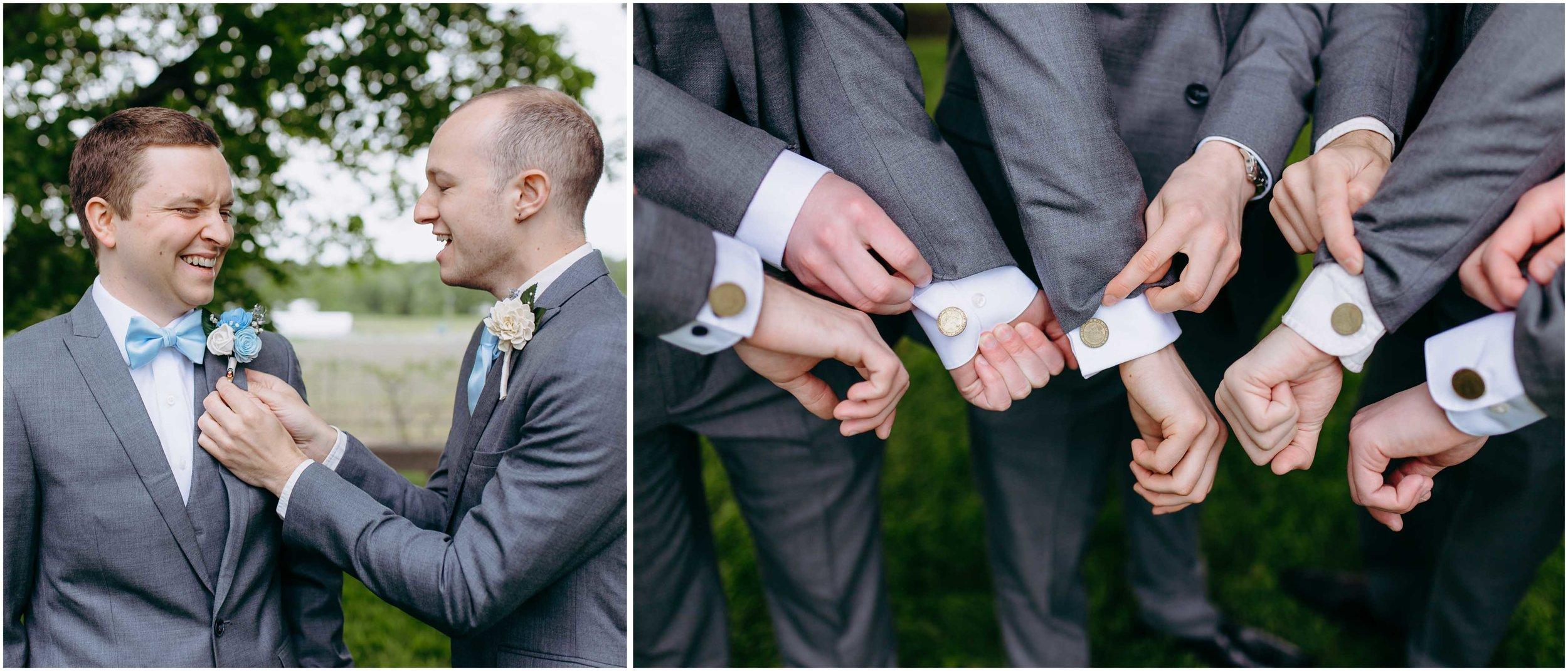 NH Wedding Photographer, NH Wedding Photography at Flag Hill Distillery & Winery in Lee, New Hampshire, groom, groomsmen, cufflinks