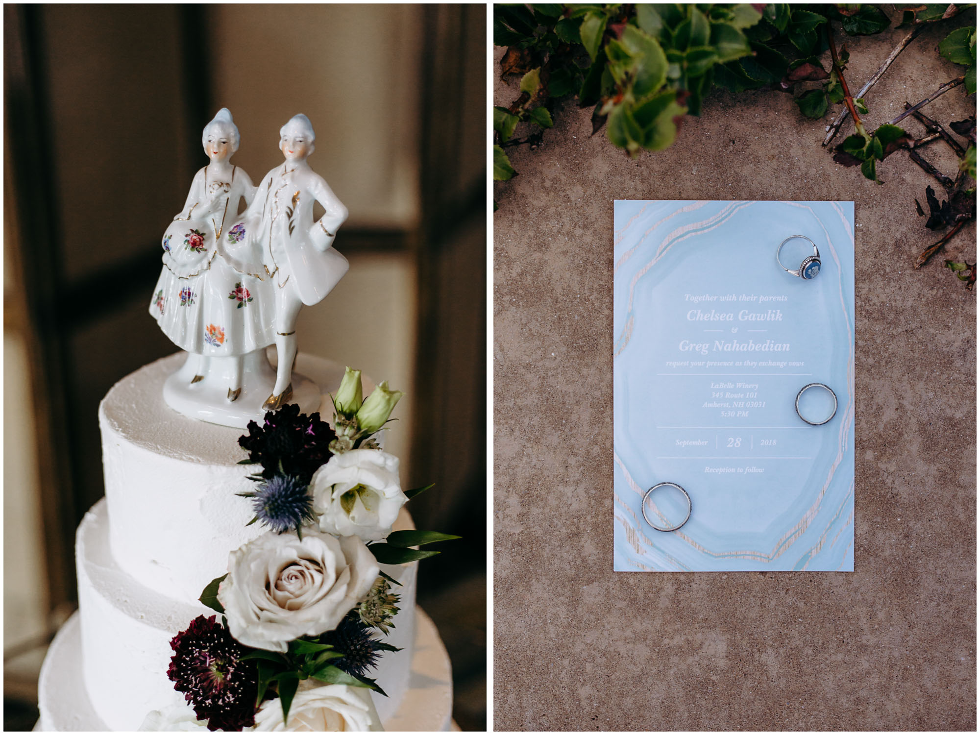 Unique wedding cake, invitations, and custom wedding rings - by Ashleigh Laureen Photography at LaBelle Winery in Amherst, New Hampshire
