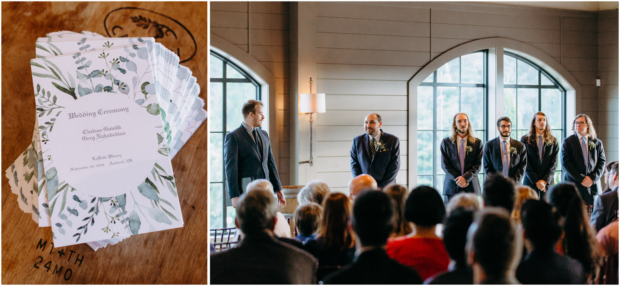 Wedding program and line of groomsmen - by Ashleigh Laureen Photography at LaBelle Winery in Amherst, New Hampshire