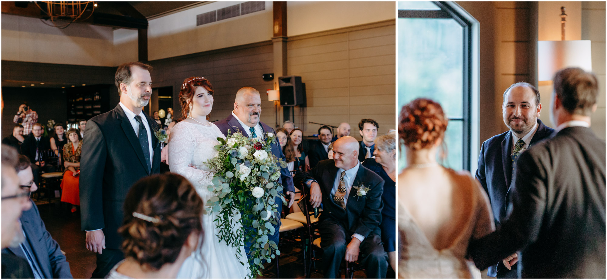 Bride walking down the aisle and groom smiling at her during ceremony - by Ashleigh Laureen Photography at LaBelle Winery in Amherst, New Hampshire