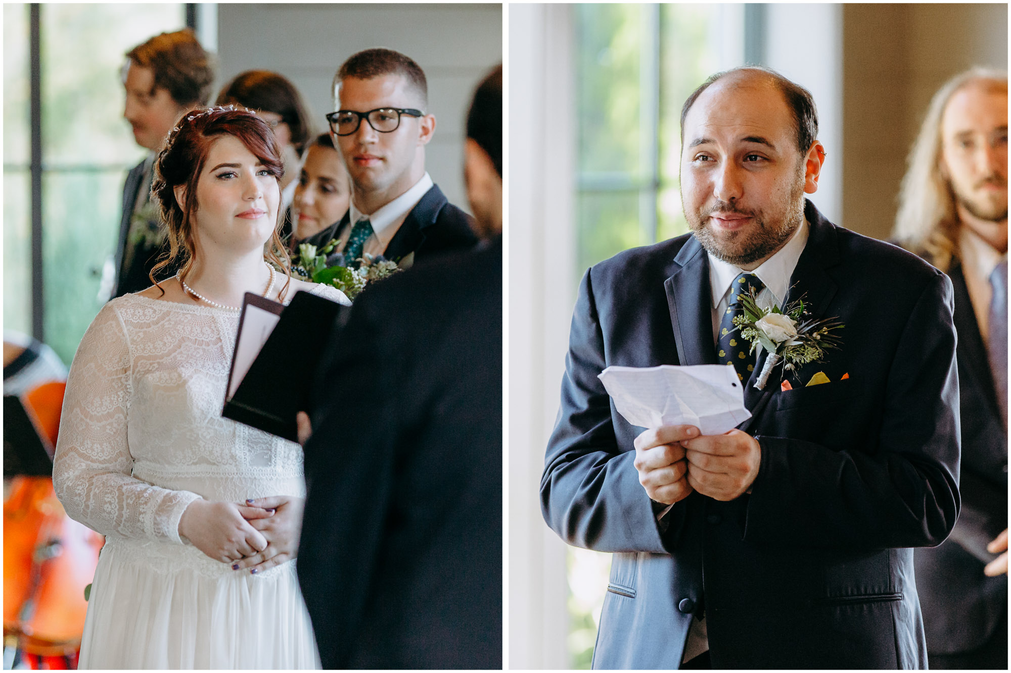Bride and groom reading vows during ceremony - by Ashleigh Laureen Photography at LaBelle Winery in Amherst, New Hampshire