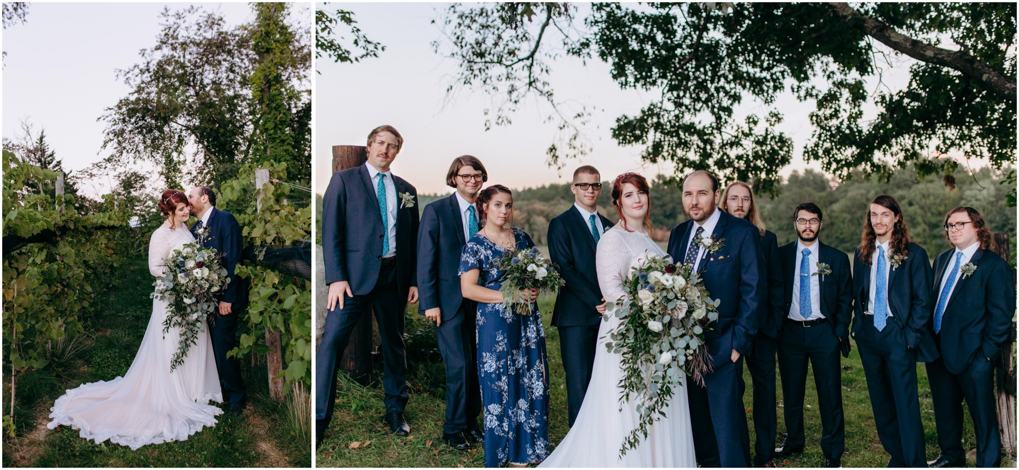 Bride and groom and wedding party in vineyard - by Ashleigh Laureen Photography at LaBelle Winery in Amherst, New Hampshire
