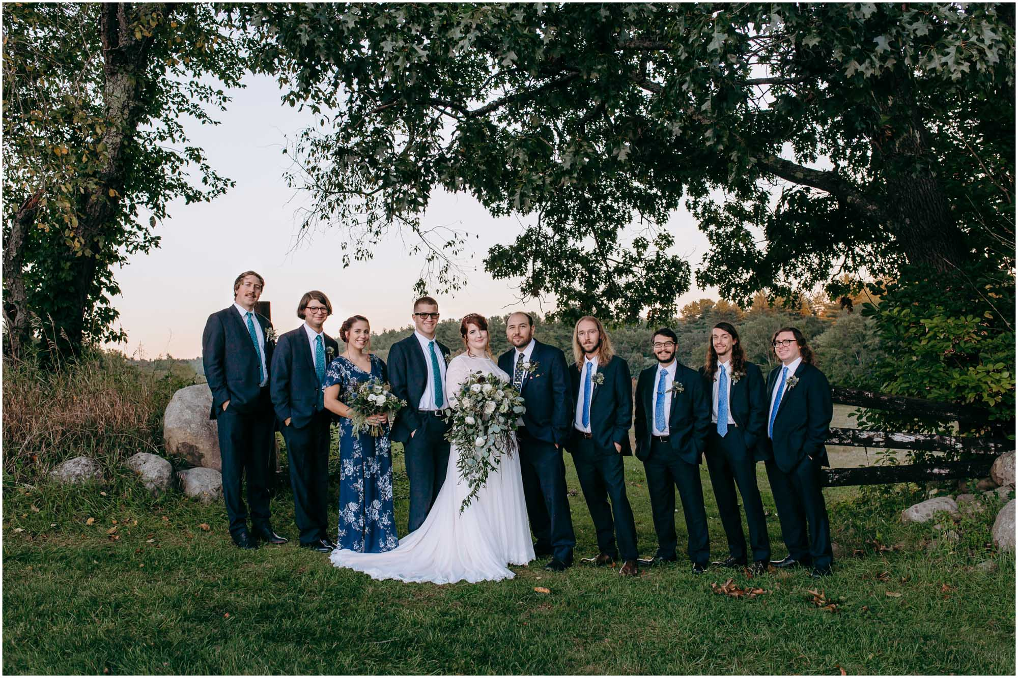 Stylish wedding party at sunset in vineyard - by Ashleigh Laureen Photography at LaBelle Winery in Amherst, New Hampshire