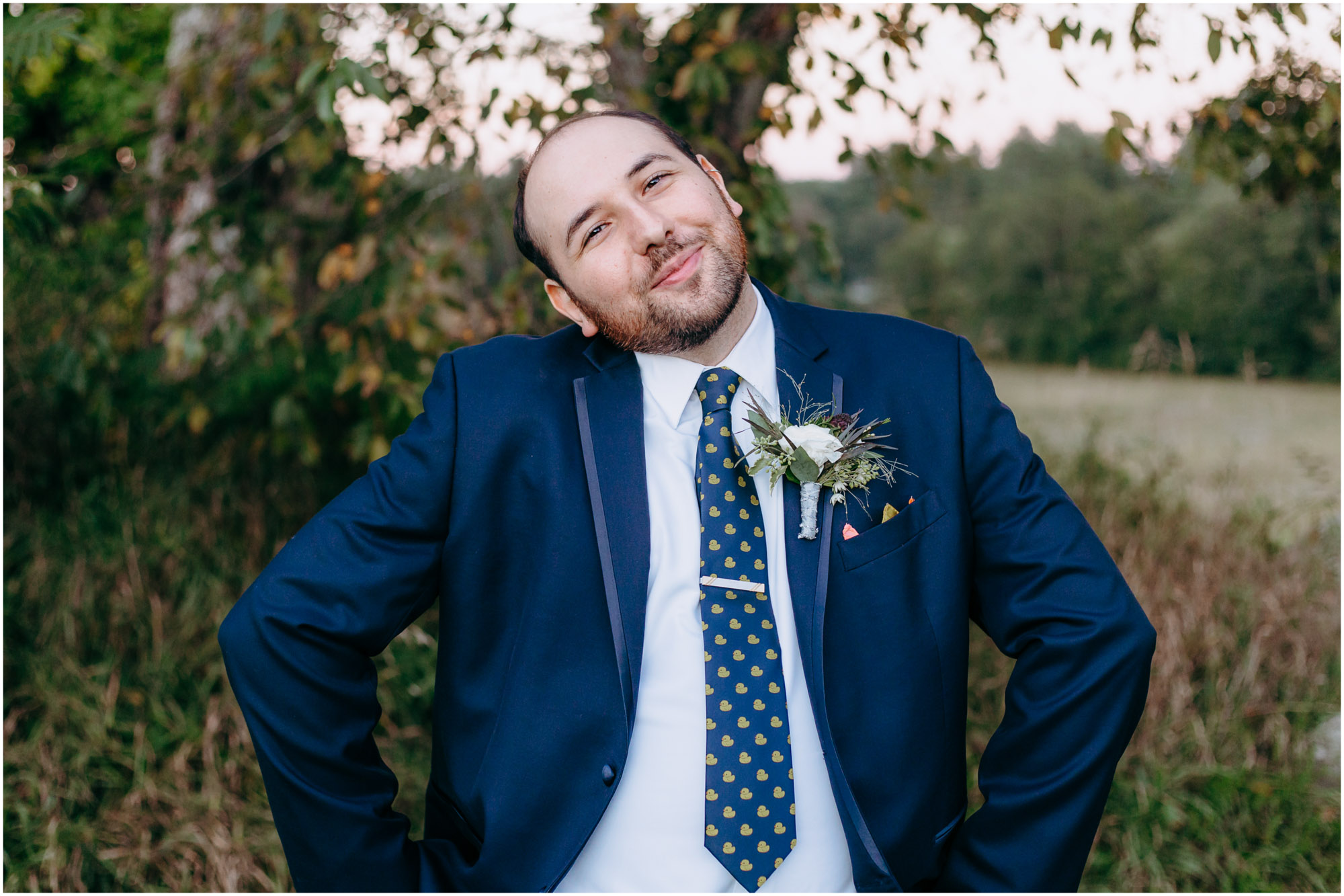 Adorable, smiling groom - by Ashleigh Laureen Photography at LaBelle Winery in Amherst, New Hampshire