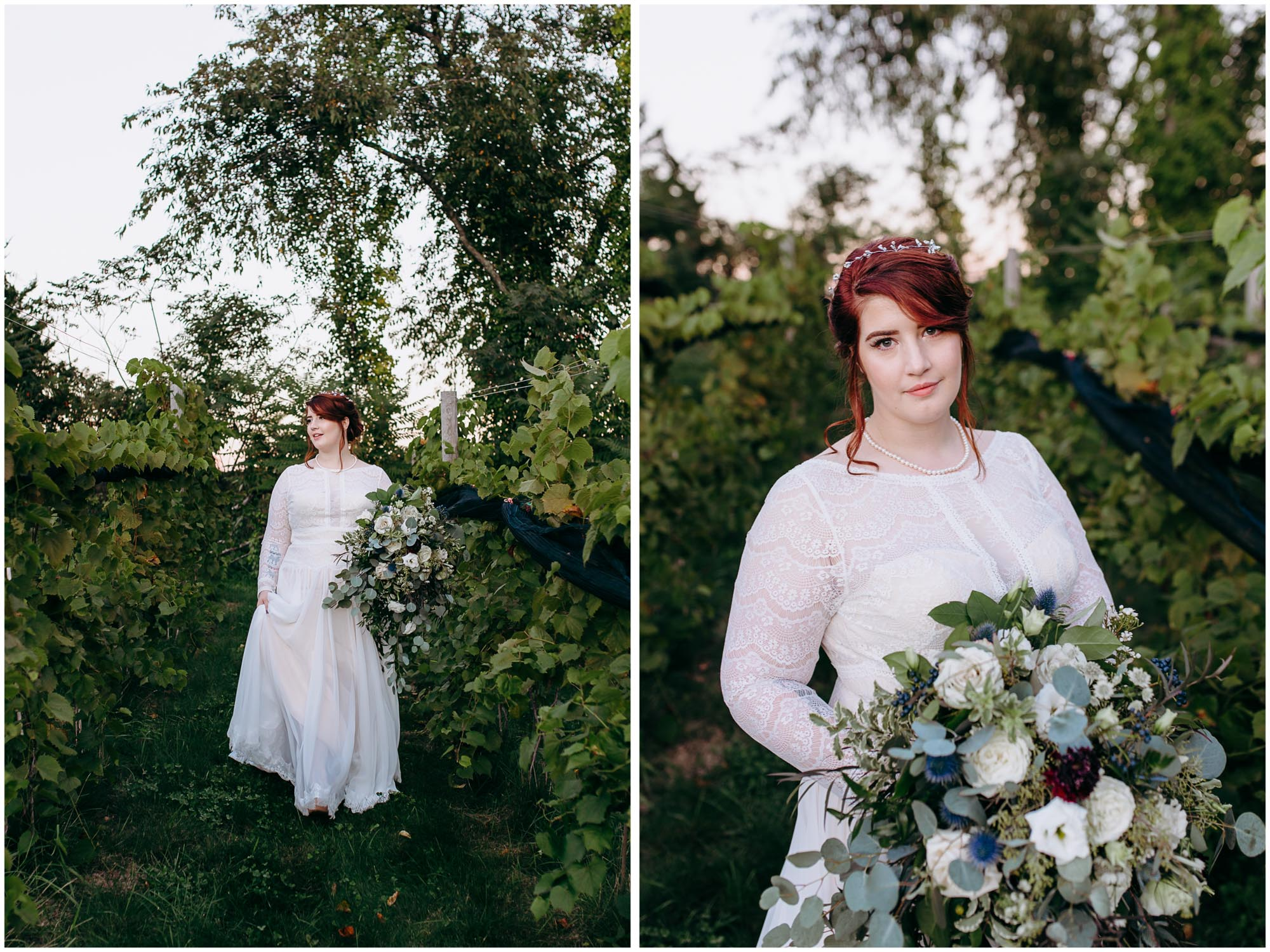Stunning red-head bride walking gracefully in vineyard and holding beautiful bouquet by Apotheca - by Ashleigh Laureen Photography at LaBelle Winery in Amherst, New Hampshire