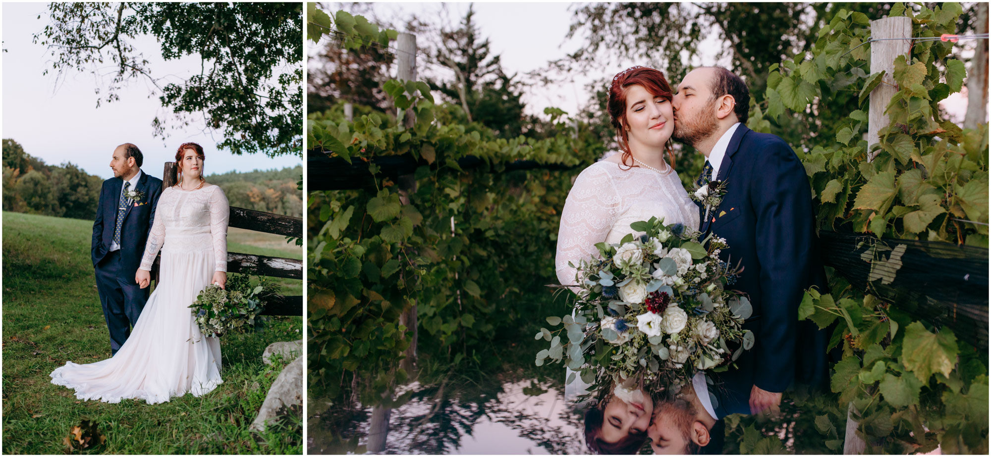 Dramatic pose and reflection of bride and groom in vineyard - by Ashleigh Laureen Photography at LaBelle Winery in Amherst, New Hampshire