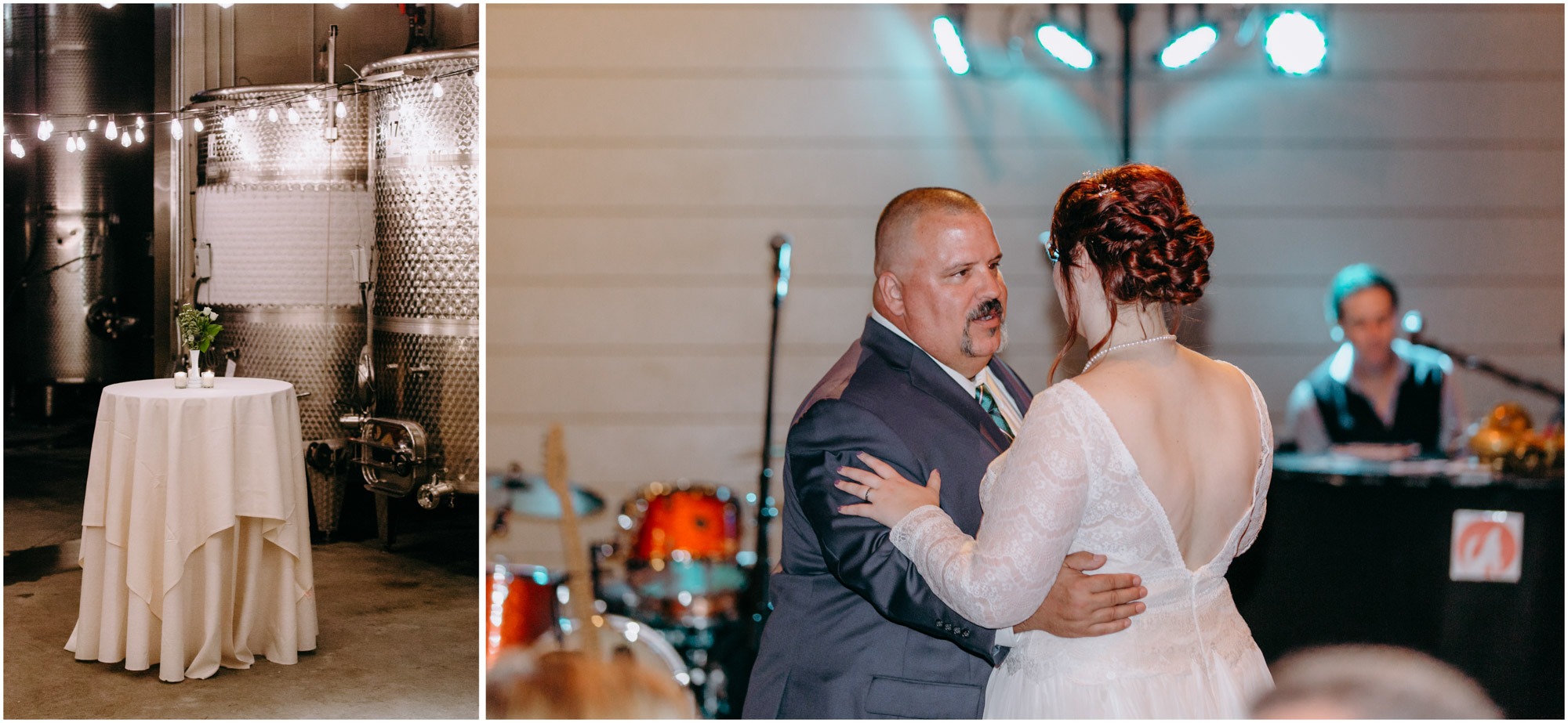 Father and daughter dance during reception - by Ashleigh Laureen Photography at LaBelle Winery in Amherst, New Hampshire
