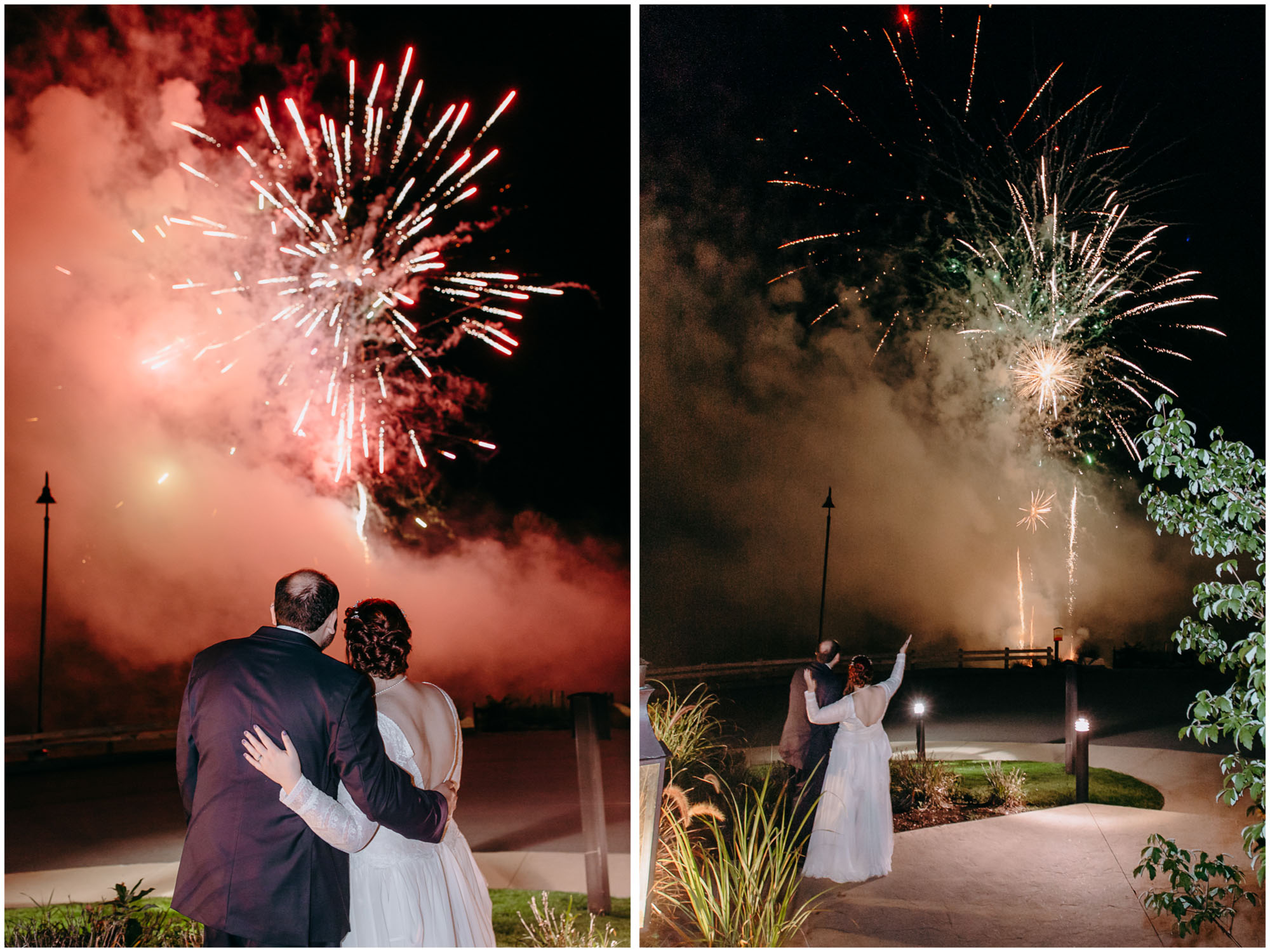 Bride and groom watch fireworks show during reception - by Ashleigh Laureen Photography at LaBelle Winery in Amherst, New Hampshire