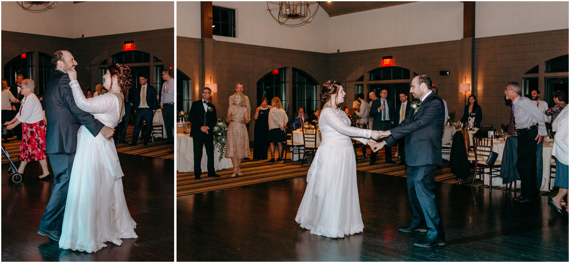 Bride and groom's first dance during reception - by Ashleigh Laureen Photography at LaBelle Winery in Amherst, New Hampshire