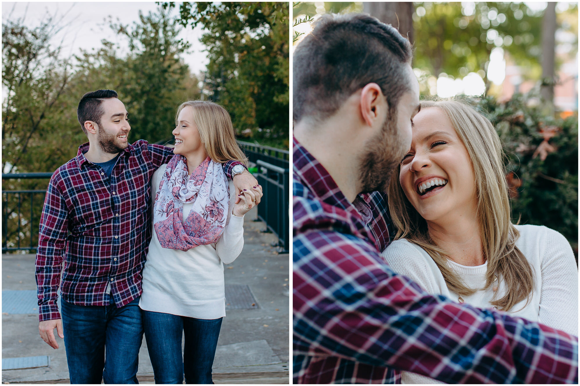 Happy couple walks together along the river and sits laughing in the park - by New Hampshire wedding photographer Ashleigh Laureen Photography in Lowell, Massachusetts