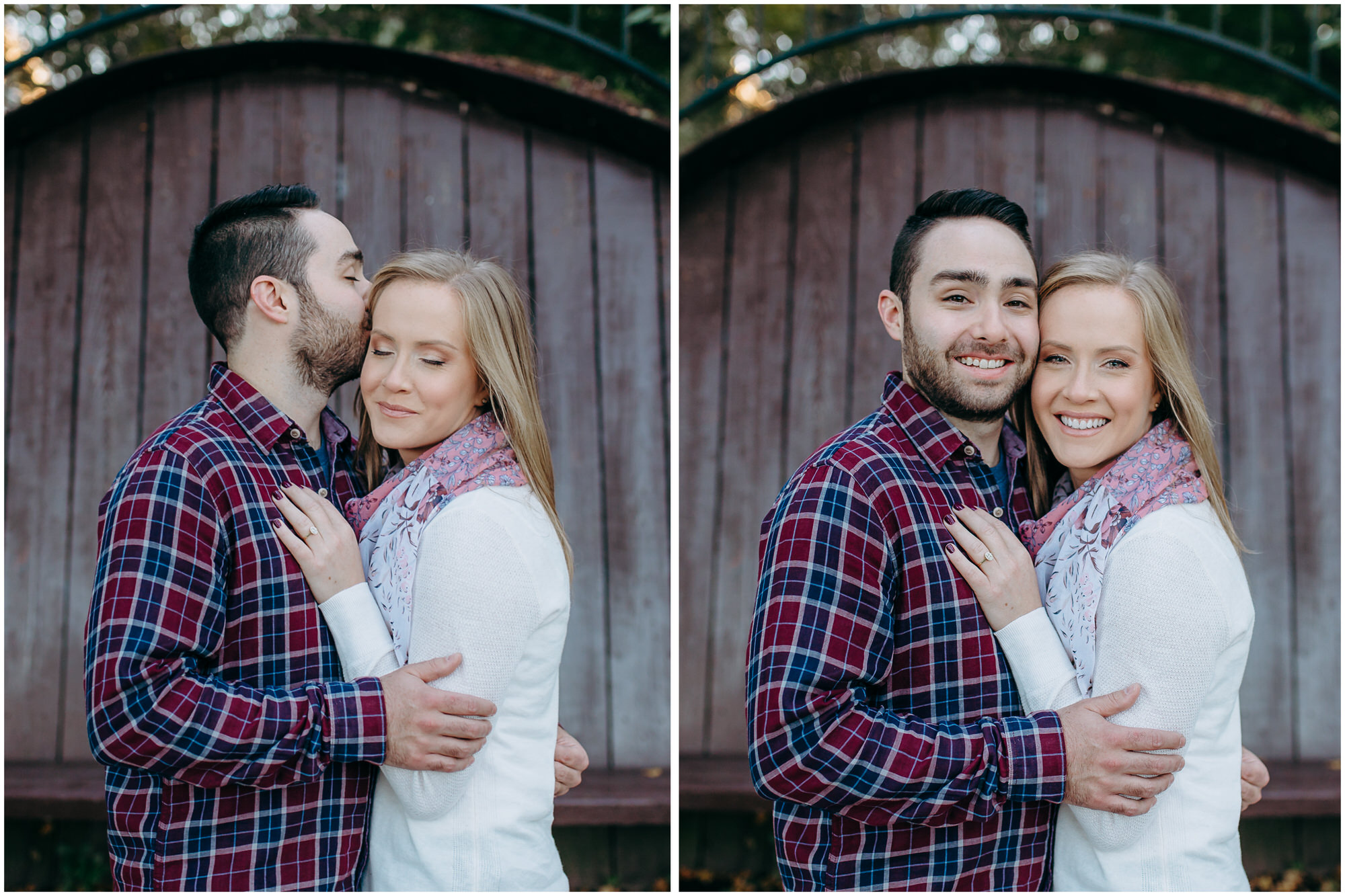 Beautiful couple poses and smiles for their New England engagement photos - by New Hampshire wedding photographer Ashleigh Laureen Photography in Lowell, Massachusetts