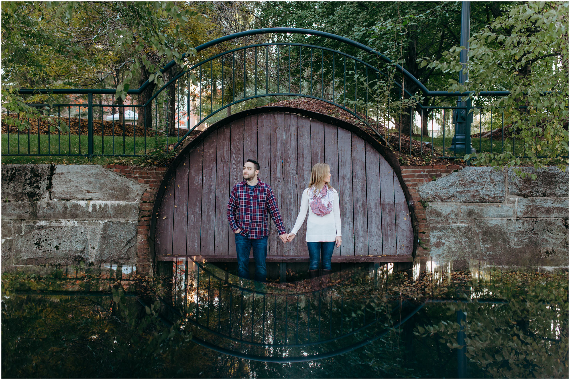 Engagement photos in Massachusetts, light diffraction, iPhone reflection, prism photo - by New Hampshire wedding photographer Ashleigh Laureen Photography in Lowell, Massachusetts