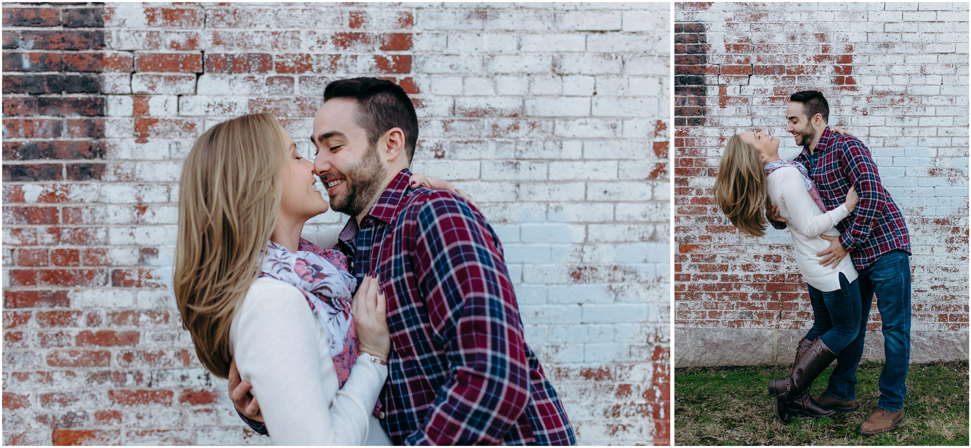 Happy couple laughs and dances in front of a brick building - by New Hampshire wedding photographer Ashleigh Laureen Photography in Lowell, Massachusetts