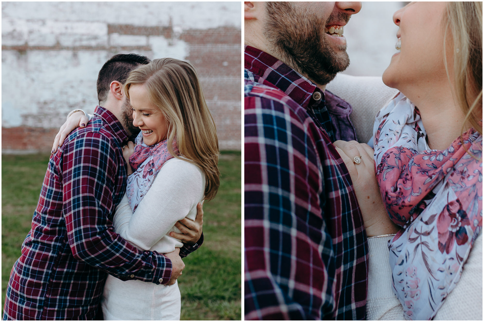 Happy couple laughs at some inside joke; there is a close-up of her ring - by New Hampshire wedding photographer Ashleigh Laureen Photography in Lowell, Massachusetts