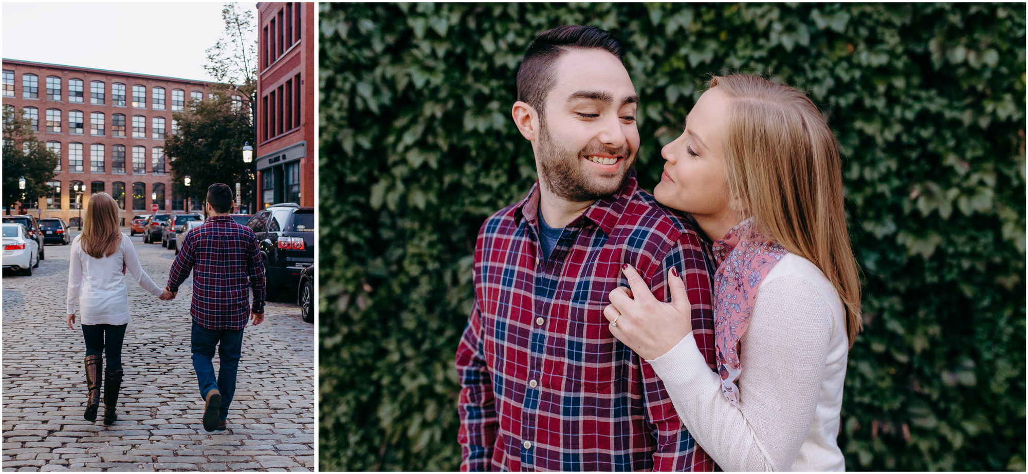 Engaged couple walks in downtown Lowell at sunset; they stand snuggling in front of a wall of ivy - by New Hampshire wedding photographer Ashleigh Laureen Photography in Lowell, Massachusetts
