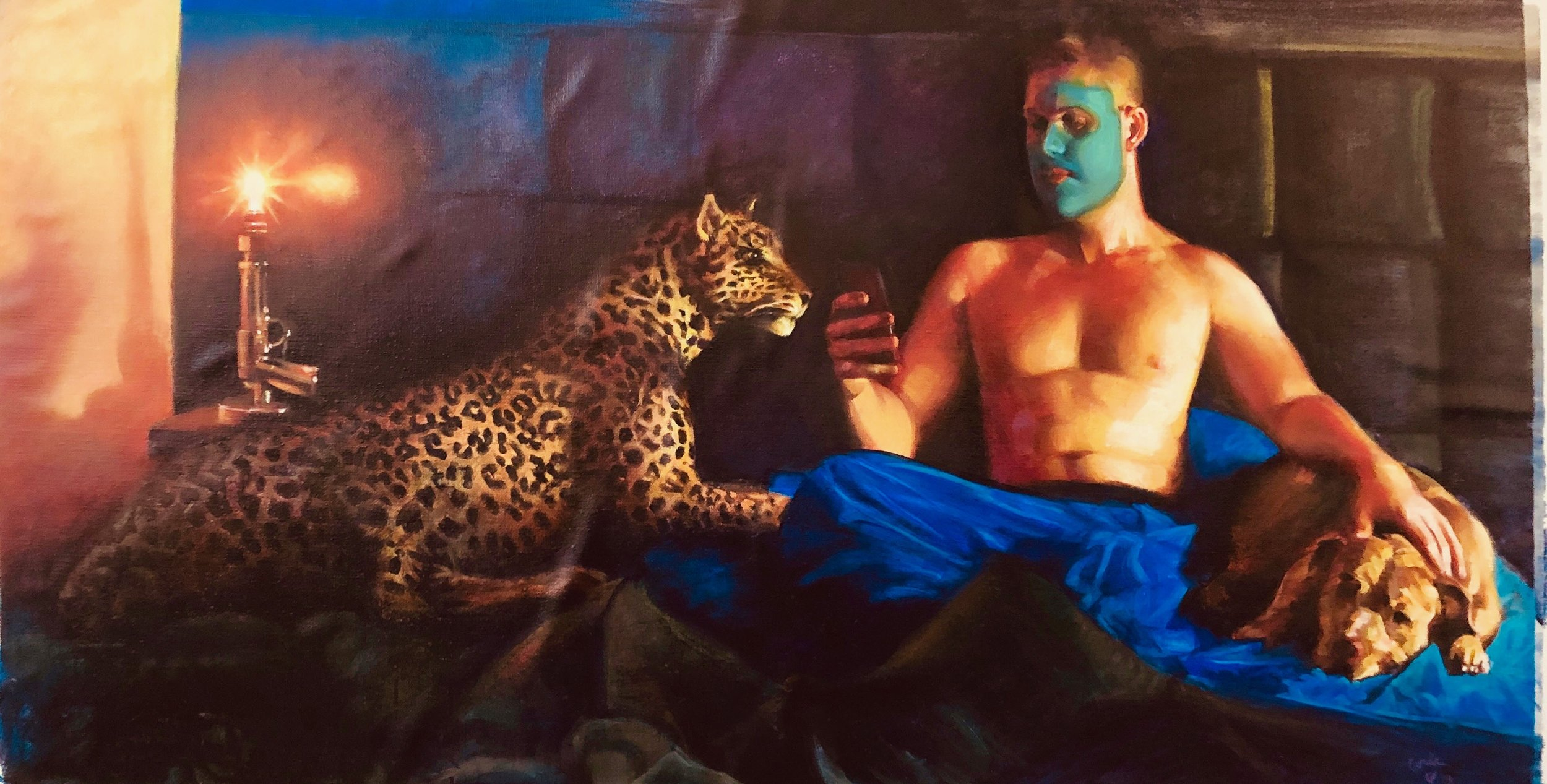 """Lair of the Beast"", cynda valle , oil on linen, 30x48 "", Portrait of my young millennial roommate during his weekly facial. All my love to Steven Parnell. Dog is real, cat is stuffed (inherited from grandfather)"