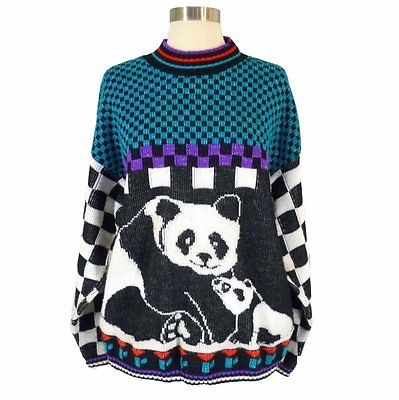 Checked Panda Vintage Sweater