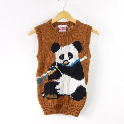 Brown Vintage Panda Sweater Vest