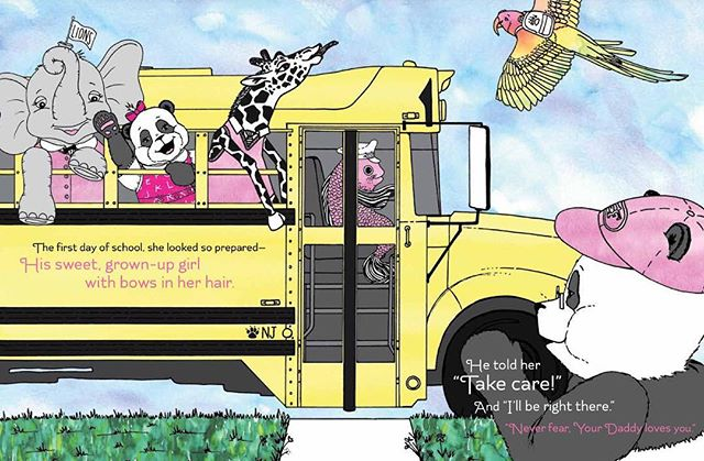 Growing up so fast! The Yellow 🚍 already??? Someone please put on the brakes!!! Visit www.lovedaddythebook.com and join our e-mail list to enter the book giveaway contest. #firstdayofschool #fathersday #fatherhood #kidlit #kidlitchat #childrensbook #bookgiveaway #bookmarketing #panda #scbwi #selfpublishing #indieauthor