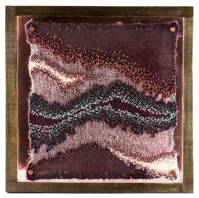 Sandra Clark,  Untitled 1503, 2015  Wool, wood, copper, thread, embroidery floss  10 x 10 x 2.25 in.  $900