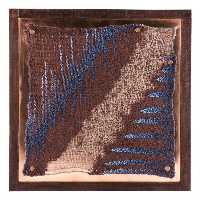 Sandra Clark, Untitled 1504, 2015  Wool, wood, copper, thread, embroidery floss  10 x 10 x 2.25 in.  $900