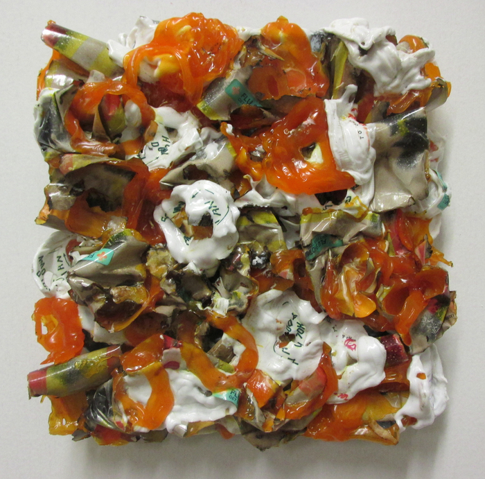 Patrick Craig, Flu , 2015  Re-purposed plastic  10 x 10 x 1 in.  $800   Funded in part by Univ of MA Grad School - Courtesy of Gallery planB
