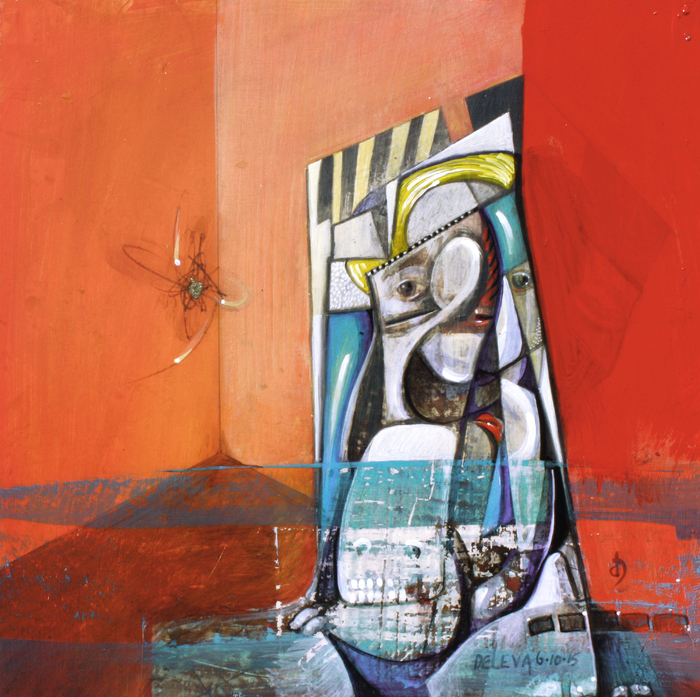 Don De Leva, I change my mind, 2015  Acrylic on panel  10 x 10 x 1 in.  $250