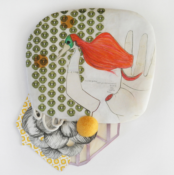 April Felipe, cleaning house , 2013  Ceramic and mixed media  10 x 8.5 x 0.75 in.  $350