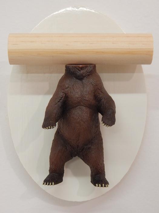 Kelsey Fernkopf, Abraham Lincoln , 2015  Plastic bear, wood, vinyl  7 x 5 x 3 in.  $200