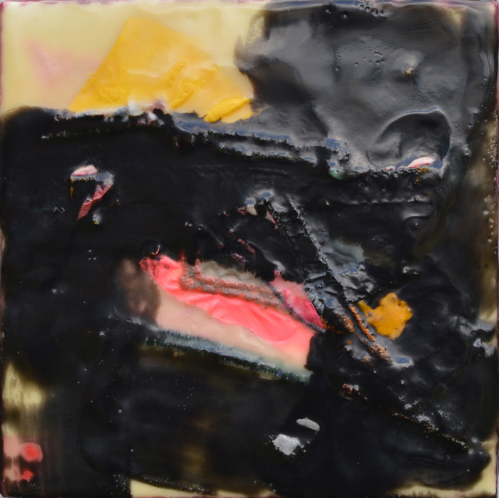 Wendy Franklund Miller, Spill #2, 2013  Encaustic on wood  7 x 7 x 2.5 in.  $400  Courtesy of Augen Gallery, Portland, OR