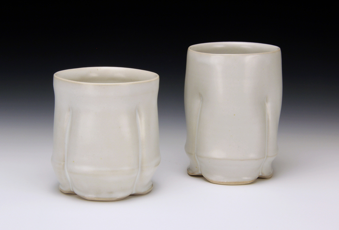 Tina Gebhart, Crease Cup Duo, 2014  Wheel-thrown and altered porcelain  6 x 10 x 4.5 in.  $115