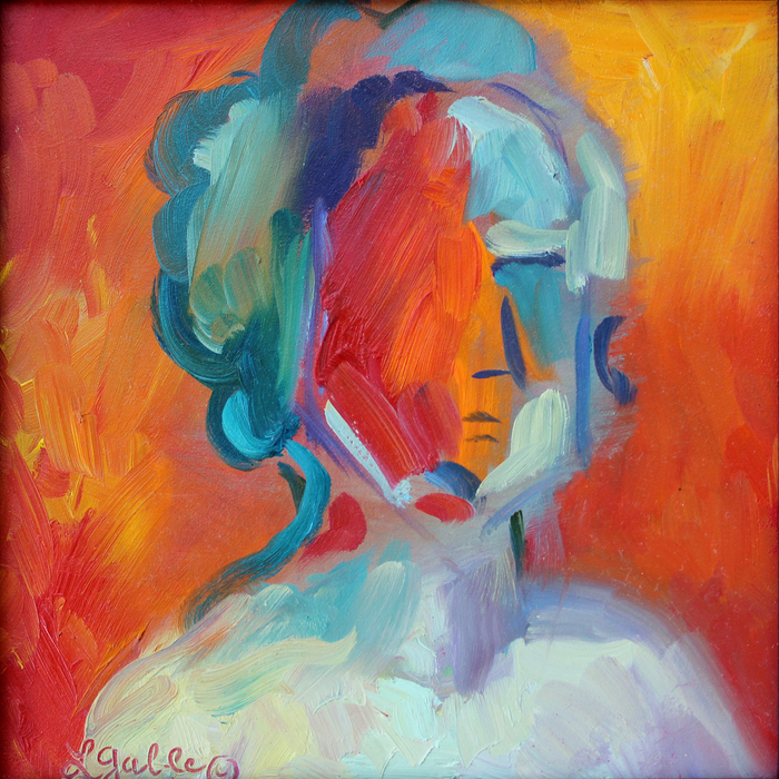 Laura Gable, After Picasso , 2014  Oil painting  6 x 6 x 0.75 in.  $250