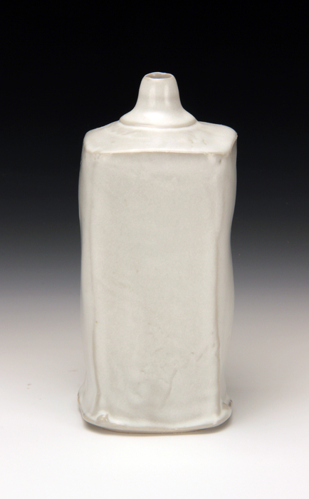Tina Gebhart, Stretch Square Bottle , 2014  Wheel-thrown and altered porcelain  9.5 x 5 x 5 in.  $165