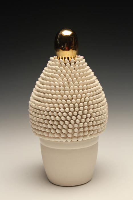 Ron Geibel, Golden , 2014  Porcelain, gold luster, wood  8x 4x 4in  $1,100