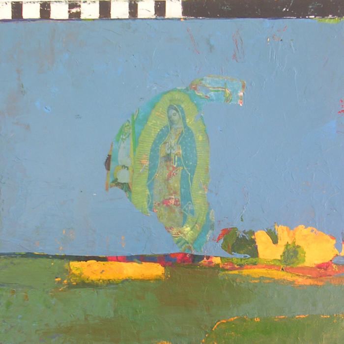 P. Hanson,  Visitation , 2013  Acrylic, collage on panel  10 x 10 x 1.75 in.  $350