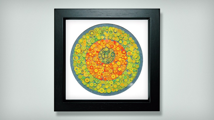 Rick Holst, Potters Circles: 5 x 5 Constellations , 2015  Colored ink, paper, pins  8.25 x 8.25 in.  $300
