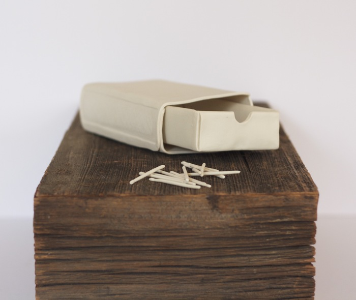 Margaret Kinkeade,  Souvenirs No. 1 , 2014  Porcelain and found wood  9.5 x 7.75 x 5.75 in.  $300