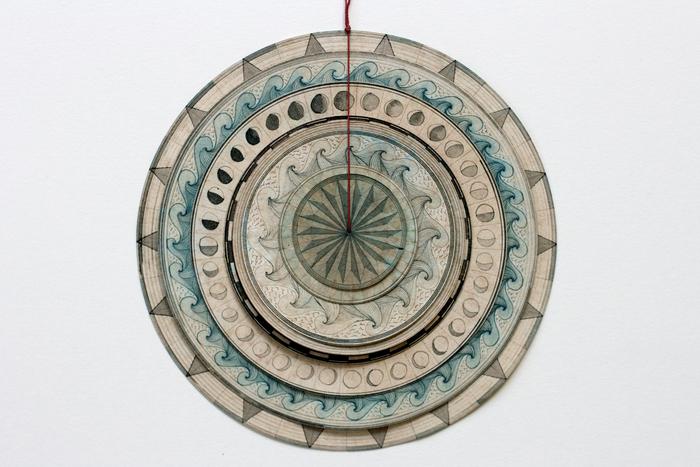 Travis Morehead, Meditation Compass N  °3 - 8 rotating dials , 2015  Paper, ink, tea, beeswax, linen thread  6 x 6 in.  $450