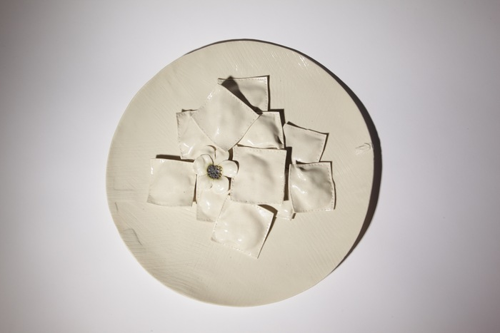 Inge Roberts, Pasta , 2014  Porcelain  3 x 9.5 x 9.5 in.  $400