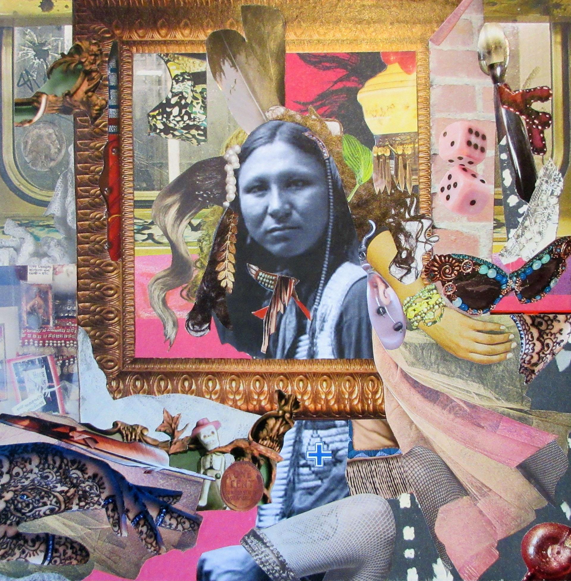 Rhonda Thomas-Urdang, Ghost Dancer No. 3 , 2014  Collage  10 x 10 in.  $600