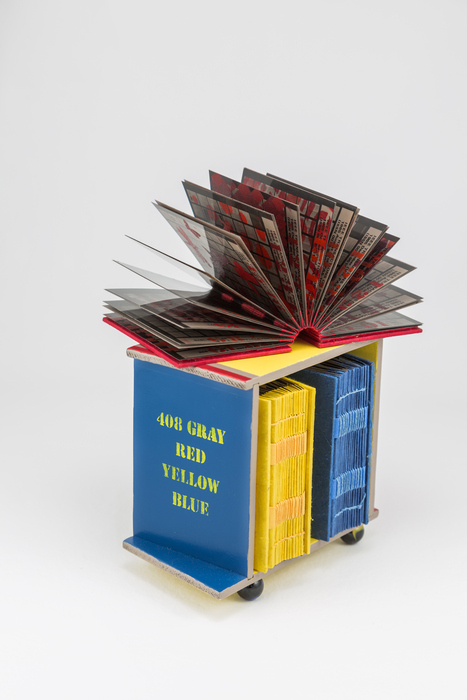 Chele Shepard, 408 Gray: Red Yellow Blue , 2015  Mixed media, artist's books  5.562 x 7 x 3.5 in.  $800