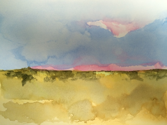 Timothy Standring, Blink of Rose Madder , 2014  Watercolor on paper  5 x 7 in.  $400