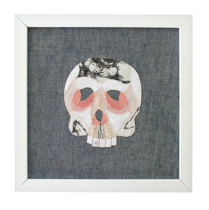 Sarah Trahan, Skull (2) , 2015  Found fabric, embroidery, rhinestones  10 x 10 x 1.75 in.  $225