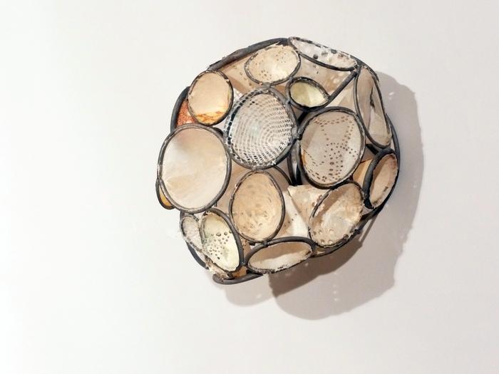 Rickie Wolfe, Chrysalis 10 , 2014  Metal and paper  5 x 6 x 3 in.  $800
